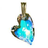 "Swarovski 27mm ""Devoted 2 U"" Aurora Borealis Crystal Heart Pendant"